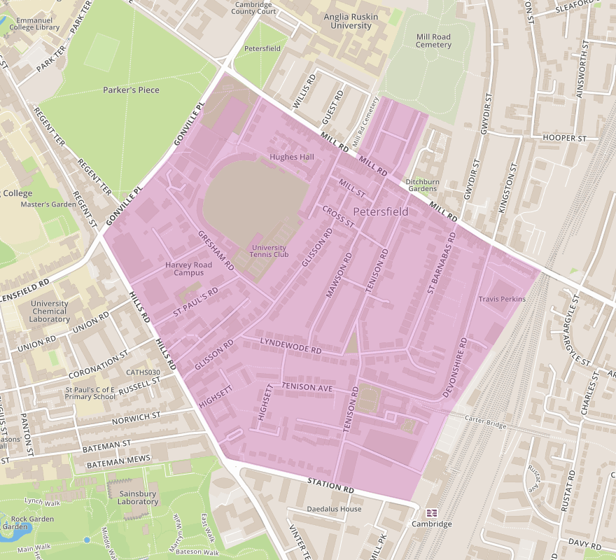 Map of extend of South Petersfield Residents Association